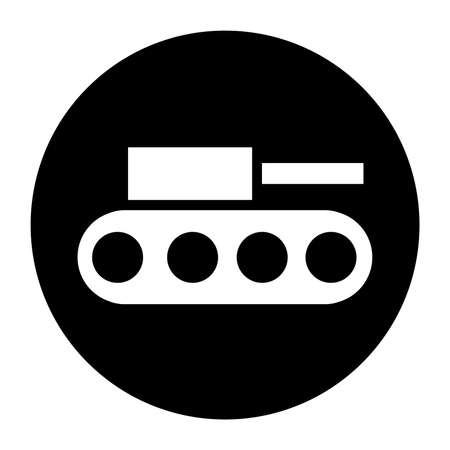 Terrorist Tank Raid Black Icon Illustration