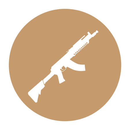 Terrorist Icon Small Arms Beige Icon Illustration