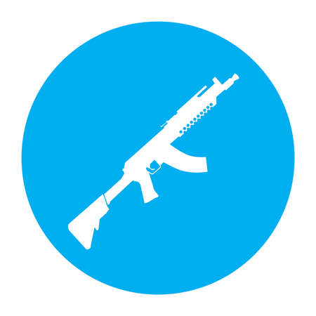 Terrorist Icon Small Arms Cyan Icon