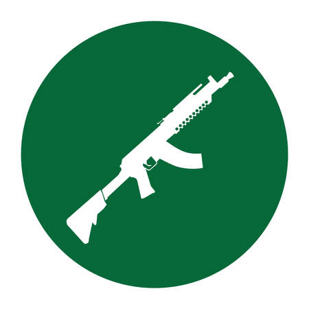 Terrorist Icon Small Arms Dark Green Icon