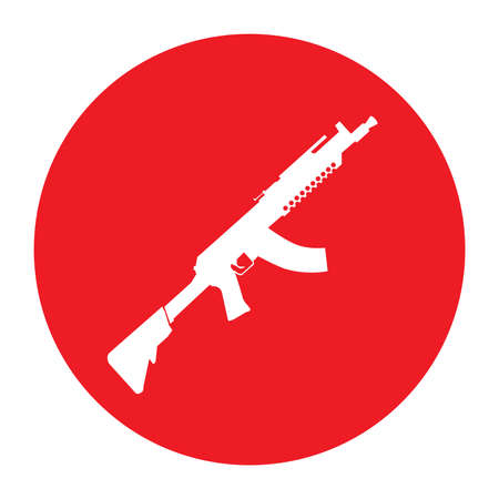 Terrorist Icon Small Arms Red Icon Illustration