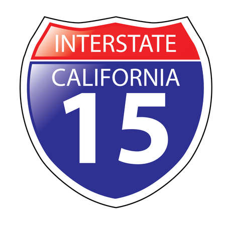highway signs: Layered artwork of California I-15 Interstate Sign Illustration