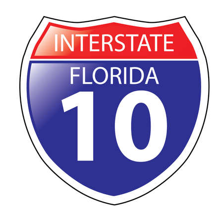 interstate: Layered artwork of Florida I-10 Interstate Sign