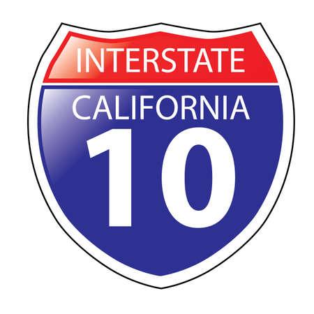 Layered artwork of California I-10 Interstate Sign
