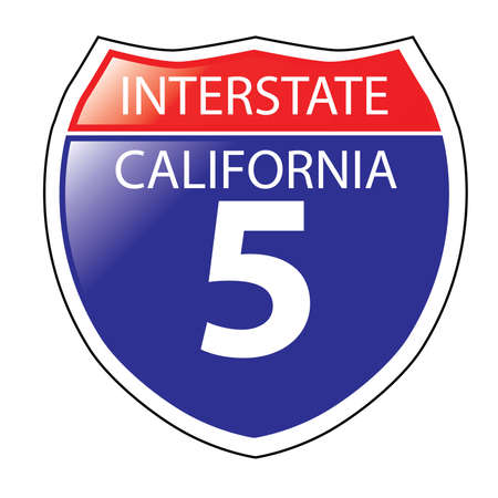 interstate: Layered artwork of California I-5  Interstate Sign