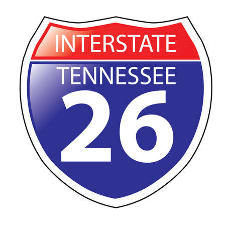 tennessee: Layered artwork of Tennessee I-26 Interstate Sign Illustration