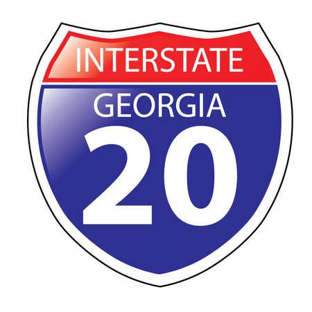 Layered artwork of Georgia I-20 Interstate Sign