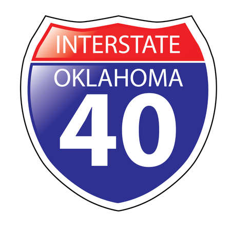 barstow: Layered artwork of Oklahoma I-40 Interstate Sign Illustration