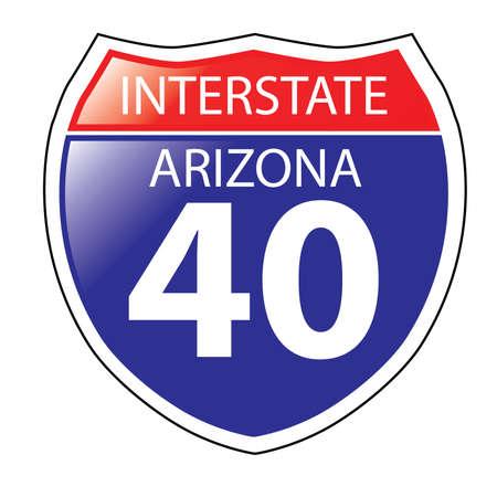 Layered artwork of Arizona I-40 Interstate Sign Illustration