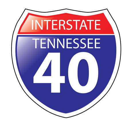 tennessee: Layered artwork of Tennessee I-40 Interstate Sign