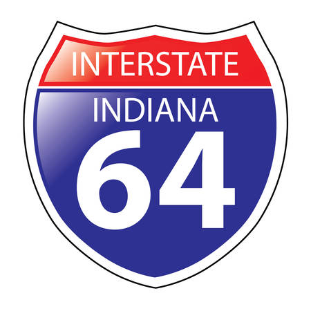 indiana: Layered artwork of Indiana I-64 Interstate Sign