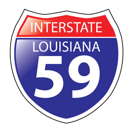 on the lookout: Layered artwork of Louisiana I-59 Interstate Sign Illustration
