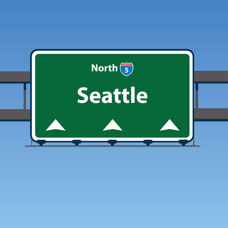 rural road: Seattle Interstate I-5 North Overhead Vector Road Sign