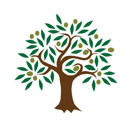 Abstract Green Olive Tree Vector Illustration