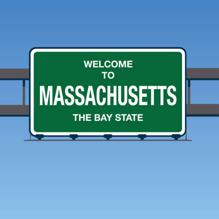 Illustration - Welcome to Massachusetts USA Interstate Highway Sign in a Blue Sky Ilustração