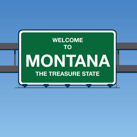 Illustration - Welcome to Montana USA Interstate Highway Sign in a Blue Sky Ilustração Vetorial