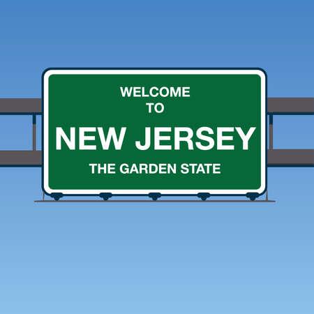 Illustration - Welcome to New Jersey USA Interstate Highway Sign in a Blue Sky Ilustração Vetorial