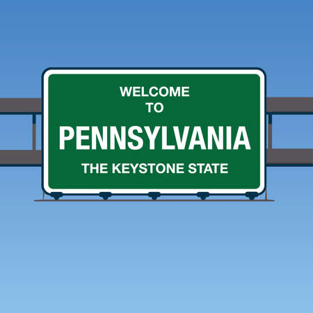 keystone: Vector - Welcome to Pennsylvania the Keystone State Interstate Highway overpass sign in a blue sky