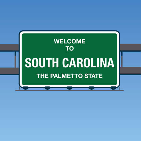 palmetto: Vector - Welcome to South Carolina the Palmetto State Interstate Highway overpass sign in a blue sky