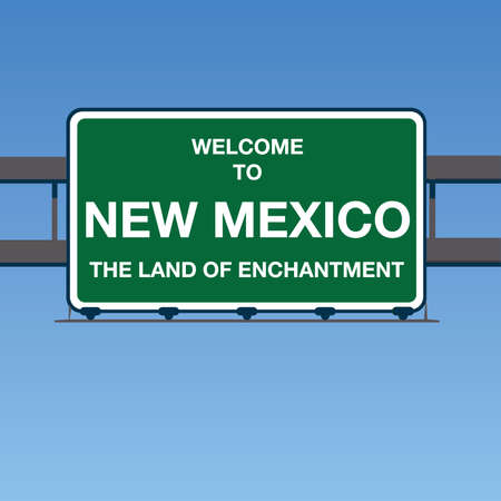 enchantment: Vector - Welcome to New Mexico the Land of enchantment Interstate Highway overpass sign in a blue sky