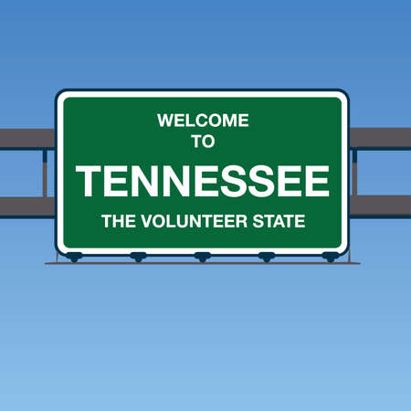 Vector - Welcome to Tennessee the Volunteer State Interstate Highway overpass sign in a blue sky