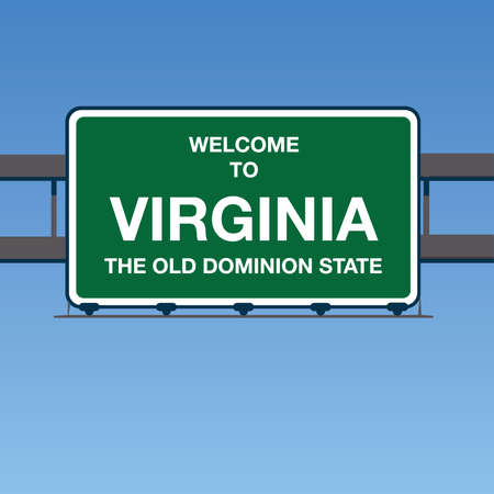dominion: Vector - Welcome to Virginia the old dominion State Interstate Highway overpass sign in a blue sky