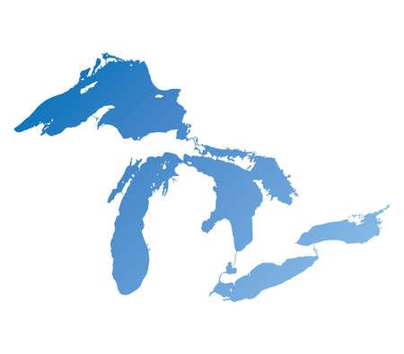 Mappa dei Grandi Laghi Blu Gradiente versione