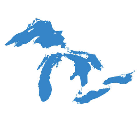 great lakes: Map of Great Lakes Blue Version