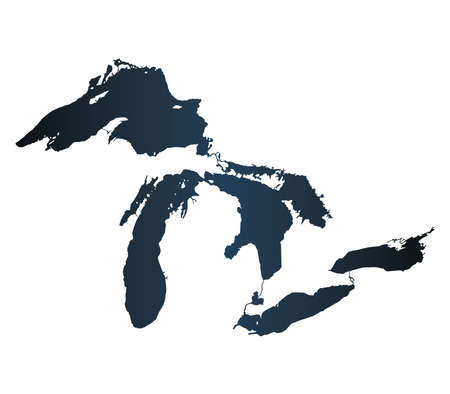 Map of Great Lakes Carbon Version Illustration