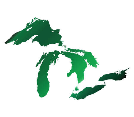 great lakes: Map of Great Lakes Green Version