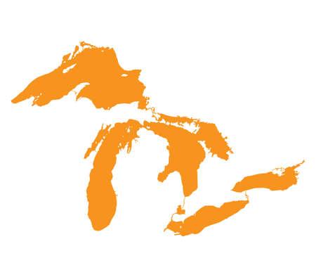 great lakes: Map of Great Lakes Orange Version Illustration