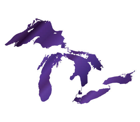 great lakes: Map of Great Lakes Purple Version