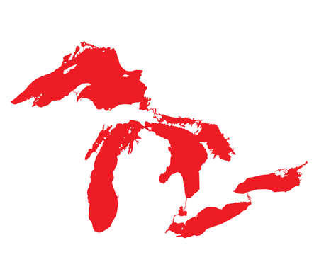 great lakes: Map of Great Lakes Red Version
