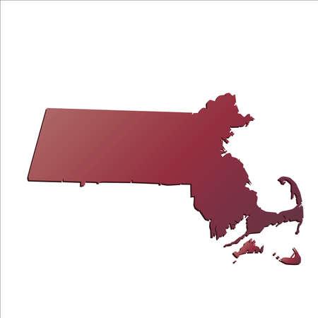 massachussets: Autumn Gradient Massachussets (USA) State map map with shadow