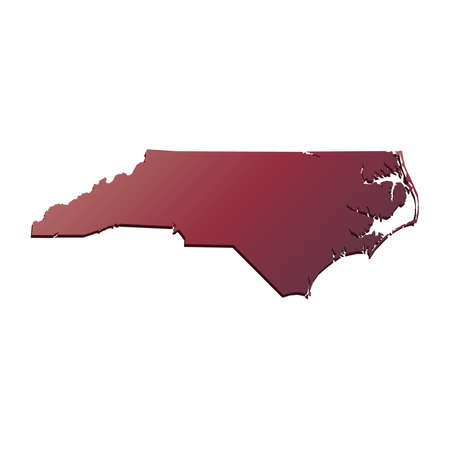 Autumn Gradient Northh Carolina (USA) State map with shadow Illustration