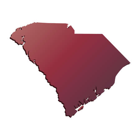 south carolina: Autumn Gradient South Carolina (USA) State map with shadow