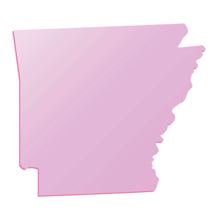 Spring Pink Arkansas (USA) State outline map with shadow Illustration