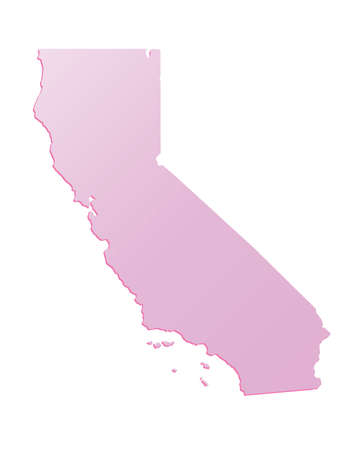 Spring Pink California (USA) State outline map with shadow 矢量图像