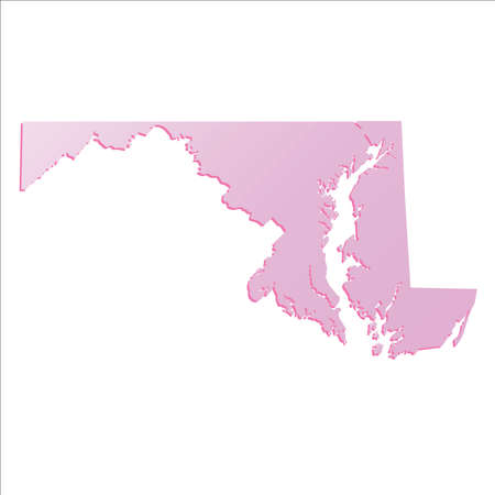 Spring Pink Gradient Maryland USA State Map With Shadow Royalty - Map of us maryland