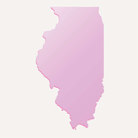 Spring Pink Illinois (USA) State outline map with shadow Illustration