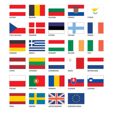 norway flag: Vector - Flags of Europe - Full Collection. Set of Flat European Flags on a whit background Illustration