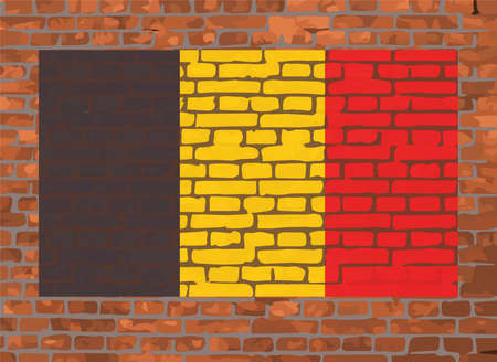 Flag of Belgium on a brick background Illustration