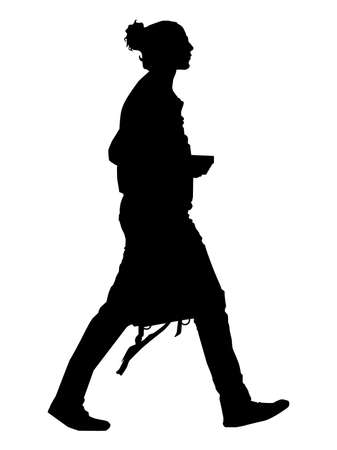 Vector - Elegant Girl walking with handbag, Business woman