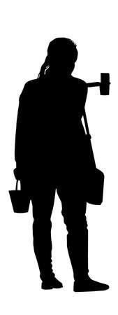 Vector - Teenage Girl with handbag and bucket taking selfie
