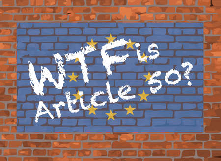 European Union Flag and WTF Graffiti On A Brick Background