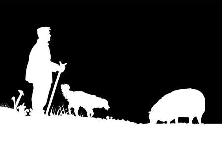 Vector Shepherd with Sheepdog and Sheep Silhouette