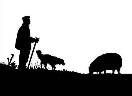 Vector Shepherd with Sheepdog and Sheep Silhouette Reversed