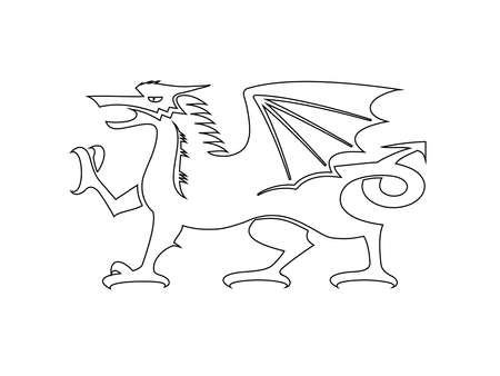 Vector - Welsh Dragon Icon Outline Black on White