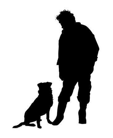 Vector - Silhouette One man and his dog Vettoriali