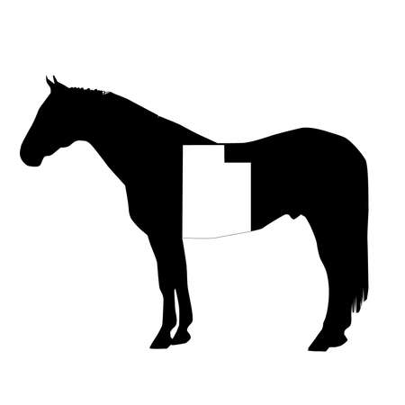 Vector Horse Silhouette with Utah Patch Illustration